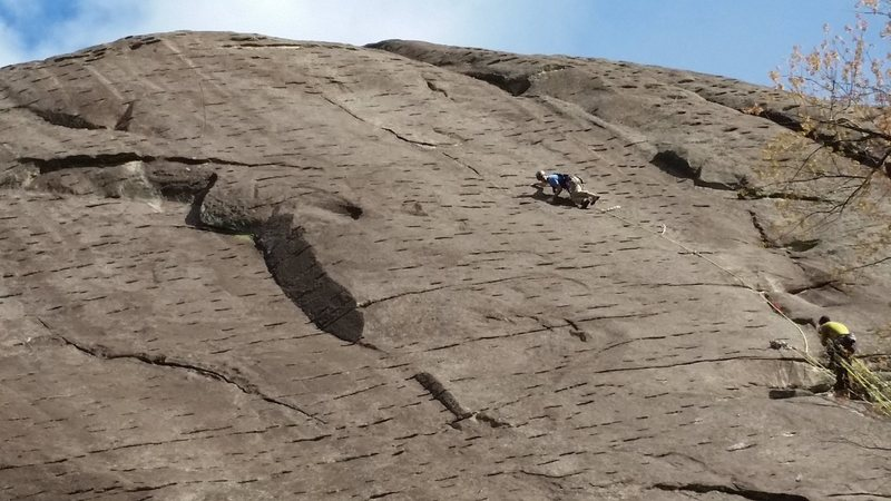 A closer view of Cut In the Rug and adjacent climbs. Steep eyebrows! Photo credit goes to Jean-Paul.