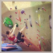 An old bouldering shot from when I first learned to heel hook.