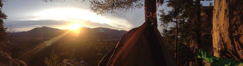 Rock Climbing Photo: Sunrise at the top of thin air.