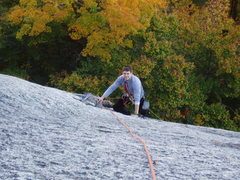 Rock Climbing Photo: Charlie Yeager arrives at the slung flake on Perfe...