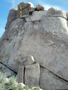 Rock Climbing Photo: Whistling Sphincter begins from the ledge, not the...