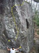 Rock Climbing Photo: Showing the line it takes, x marks the starting ho...