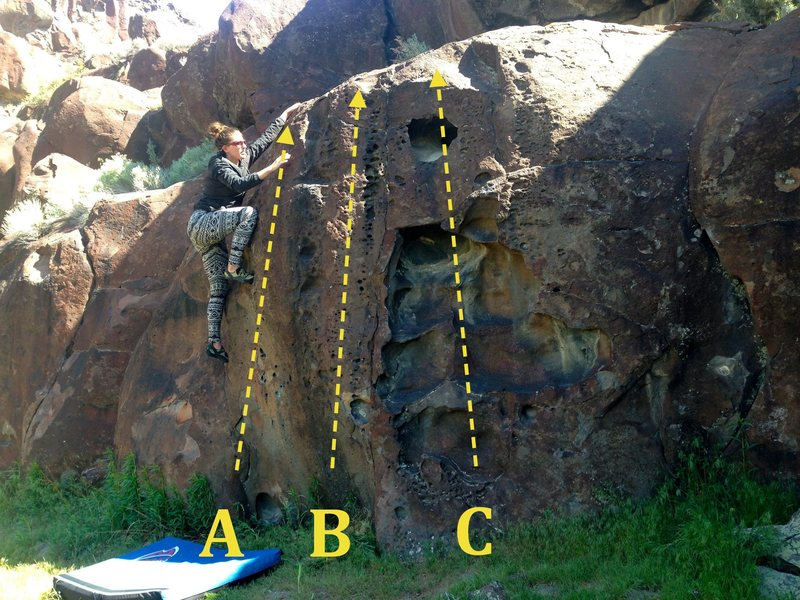 Rock Climbing Photo: Traverse Wall: A) Clean and Crank #3 V1 B) Pocket ...
