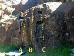 Rock Climbing Photo: Traverse Wall: A) Clean and Crank #3 V1 B) Pocket ...