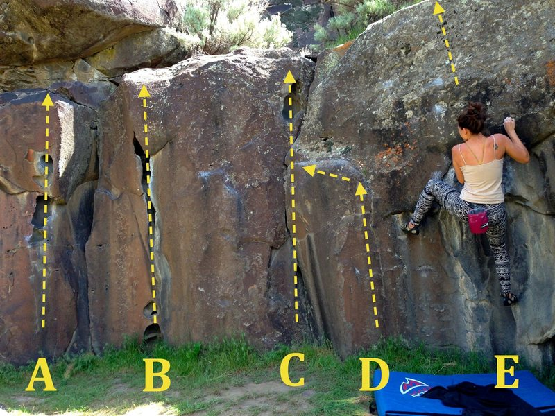Rock Climbing Photo: Chocolate Face Right: A) Chocolate Eliminates V3 B...