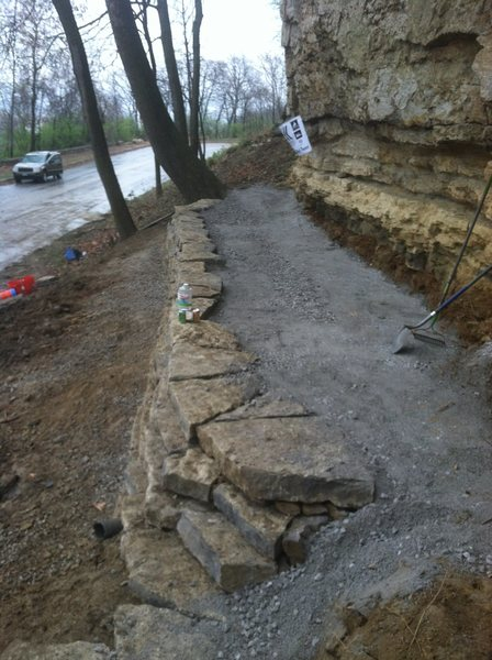 New retaining wall built by the KCCC in the spring of 2015