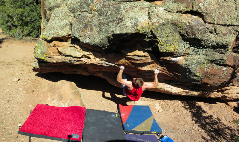 Rock Climbing Photo: Working the crux sequence of Easy Livin'.