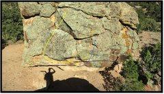 Rock Climbing Photo: Trashcan Man problem beta in blue.