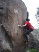 Rock Climbing Photo: on the crux of the route