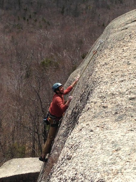 my dad picking his way through some spectacular low angle climbing<br>
