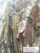 Rock Climbing Photo: Upper Snake Eyes topo 2. These are most of the rou...