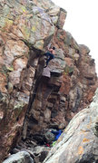 Rock Climbing Photo: NK on the FA of this sweet new line for the Poudre...