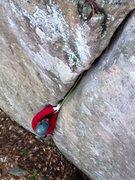 Rock Climbing Photo: Devon jamming the start of The Start like a pro