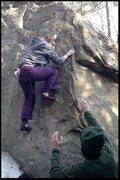 Rock Climbing Photo: nicole on the Hueco prob