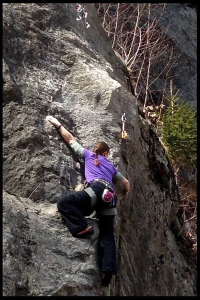 Rock Climbing Photo: nicole wearing her magic (invisible) helmet