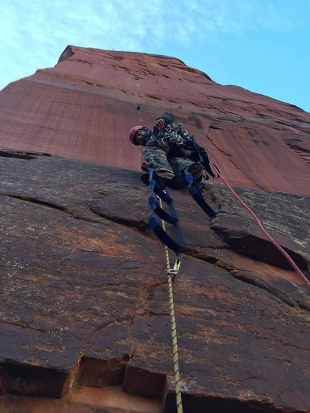 Rock Climbing Photo: On the headwall