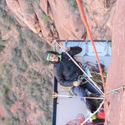 Rock Climbing Photo: Andre hanging out belaying me as I slowing lead my...