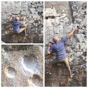 Rock Climbing Photo: Past the crux onto the bomber pinch on Shotgun - V...