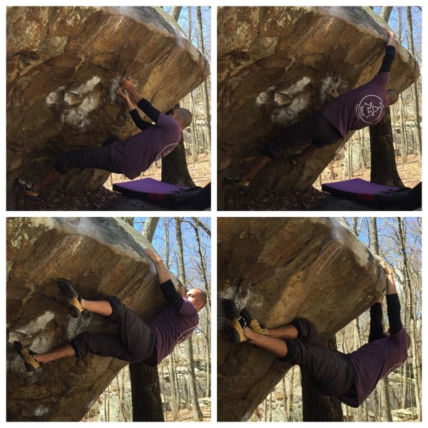 The start moves of Sternum - V5 going into the bicycle before transitioning to the right side of the boulder at LRC.