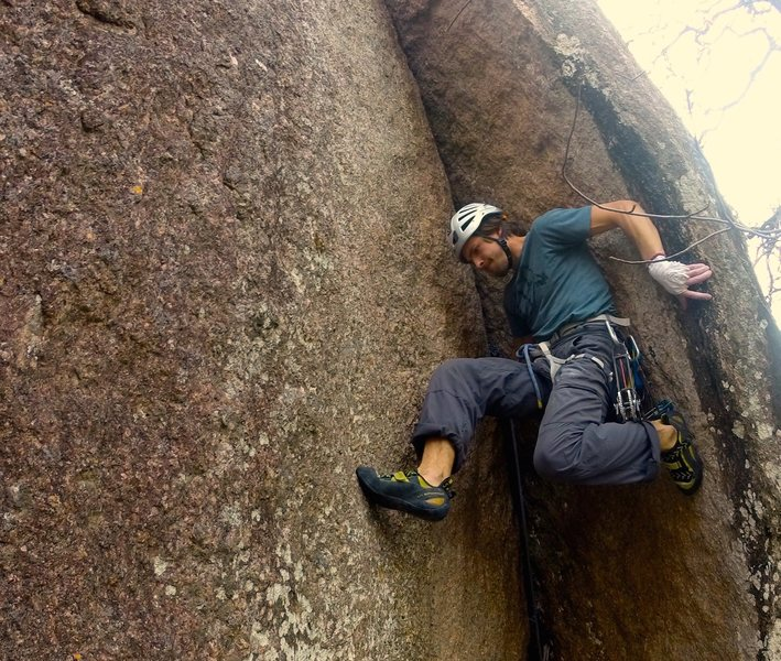 My first ascent of Motorboat, 5.9 at Enchanted Rock, Texas