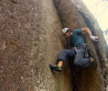 Rock Climbing Photo: My first ascent of Motorboat, 5.9 at Enchanted Roc...