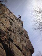 Rock Climbing Photo: Jim preparing to rap down No Such Thang As Too Muc...