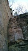Rock Climbing Photo: Jim rapping down after an adventurous onsight of a...
