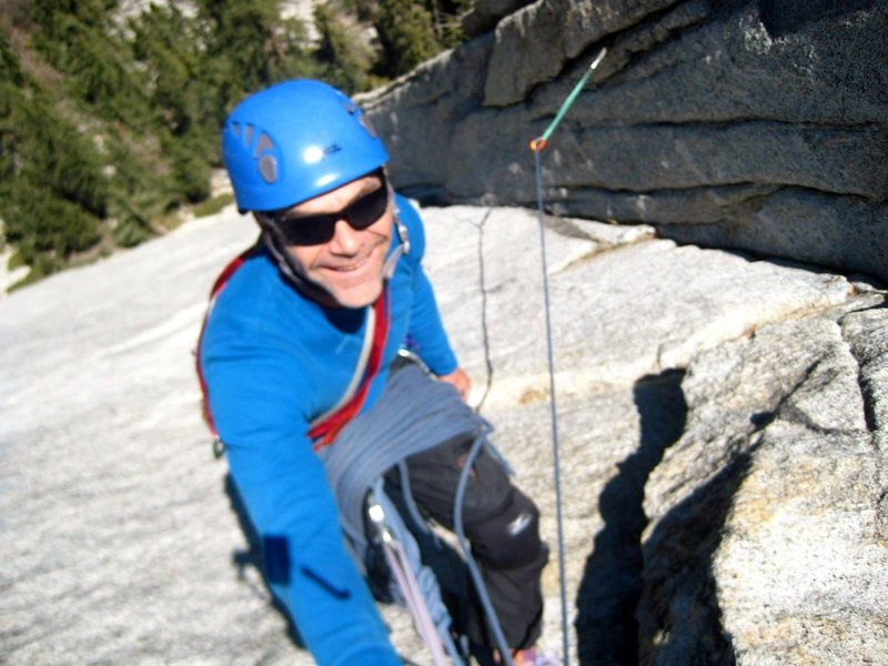 Chad Parker at the second belay of Northeast Face West.