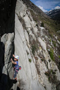 Rock Climbing Photo: Halley cruising one of her first crack climbs on a...