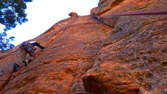 Rock Climbing Photo: Just Another Jam, sandbagged 5.7+. The rope on the...