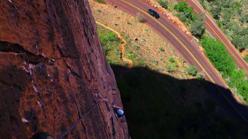 Rock Climbing Photo: Looking down the route from the hanging belay atop...