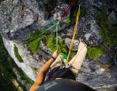 Rock Climbing Photo: Looking down at the fourth pitch on the FA of The ...
