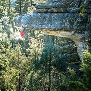 Matt Gentile dodging the fall of the impressive Widow Maker V8,  in the Flagstaff hinterlands.