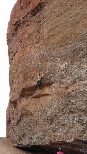 Rock Climbing Photo: Dan Goodman riding The Crazy Train