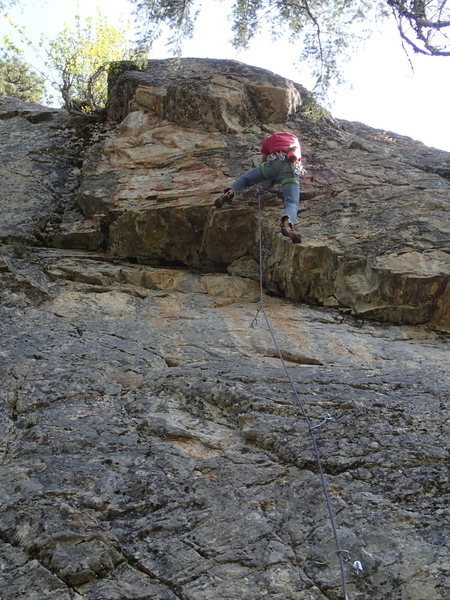 Rock Climbing Photo: EH at the crux of Out of Sight