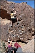 Rock Climbing Photo: dad getting highball... i forget which problem thi...