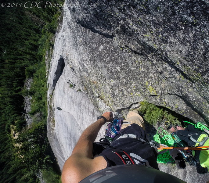 Rock Climbing Photo: Looking down on the first pitch of The Hansen Proj...