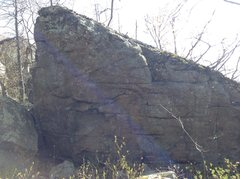 """The Northern wall of the Slopeback Boulder in the Ridge Boulders Area. The route """"Gassed"""" is here."""