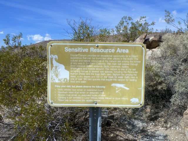 Lower Coyote Canyon sign, Anza Borrego SP