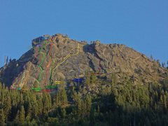 Rock Climbing Photo: An overview reference photo to some of the routes ...