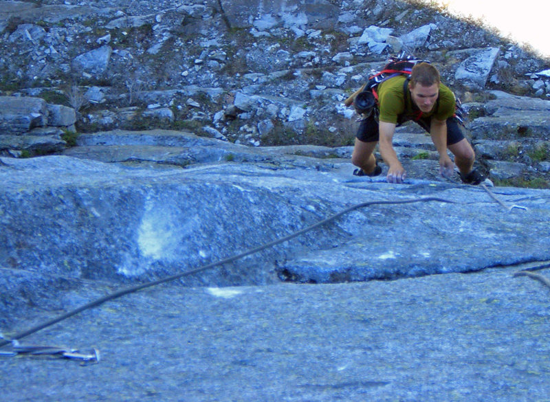 Rock Climbing Photo: Just after the crux of pitch 1, on the F.A.