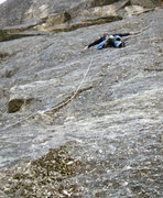Rock Climbing Photo: Mike, thin edging his way up on the F.A.