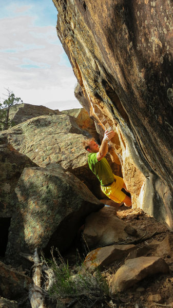 Rock Climbing Photo: Sticking the first move on Paperboy.