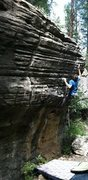 Rock Climbing Photo: Jeff Snyder on the famed Donkey Punch V6. Kelly Ca...