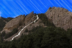 Rock Climbing Photo: The route illuminated by headlamp. Climbers: Asa D...