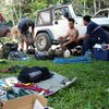 Sorting gear for a day of rock guide training in the Cayo District of Belize (04-2015).