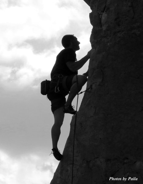 Rock Climbing Photo: Simon climbing 5/2/15 in B&W
