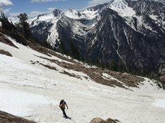 Rock Climbing Photo: Broads Fork Twin Peak Lisa Falls route snow field ...