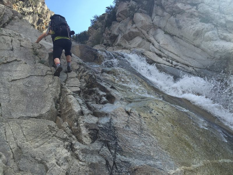 Rock Climbing Photo: It seems like the waterfalls go on for miles... ve...