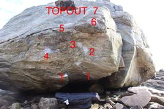 The sequence is (1) starting holds, (2) and (3) right hand crimps, (4) Left crimp, (5) right/left overhang, (6) and (7) slopers to the topout.